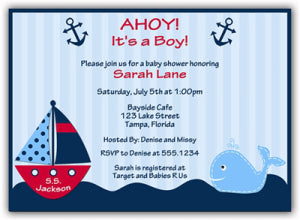 Personalized Invites - Ahoy!  It's a Boy!