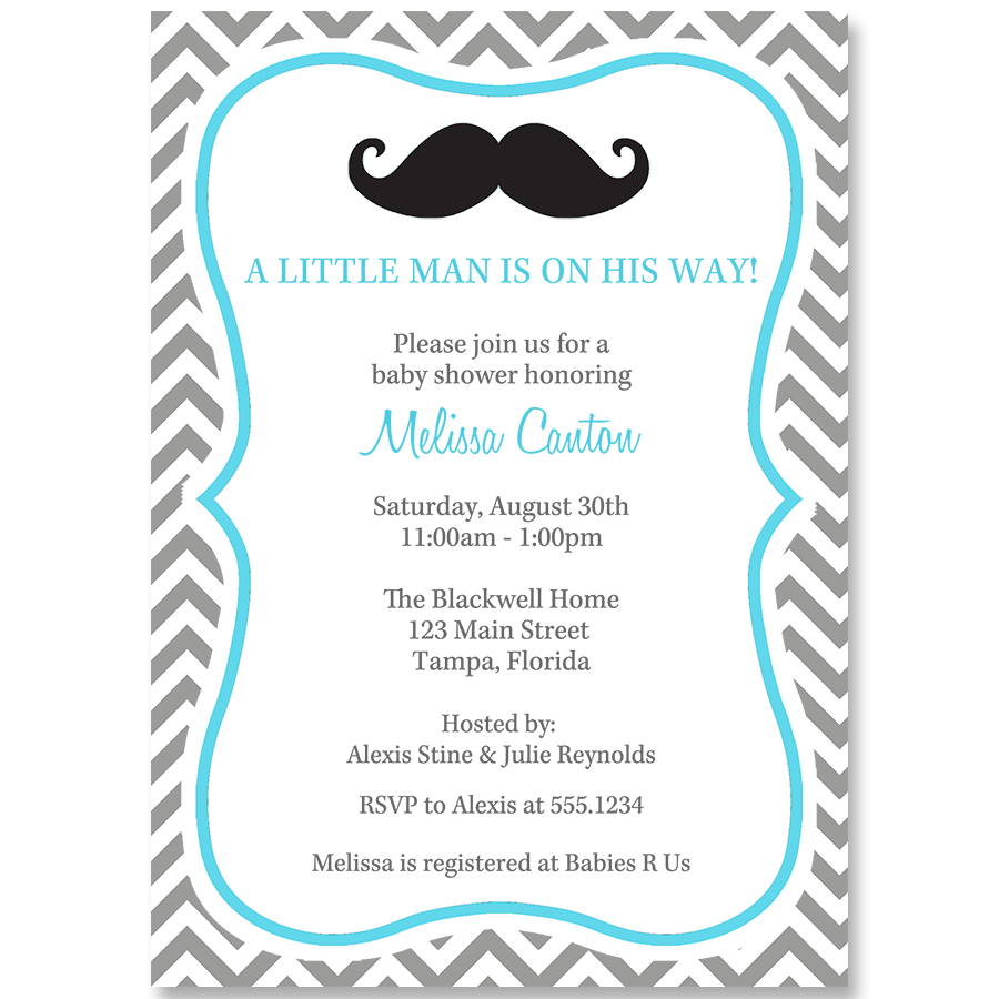 Little Man Blue and Gray Baby Shower Invitation – The Invite Lady