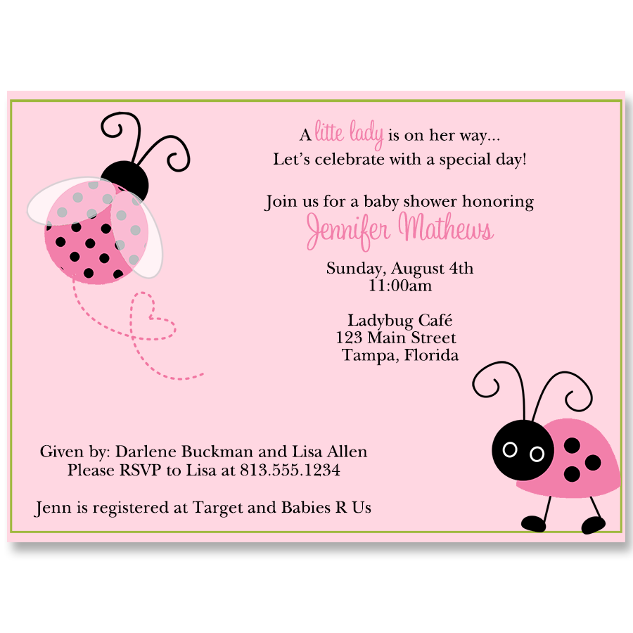 L is for Ladybug Baby Shower Invitation