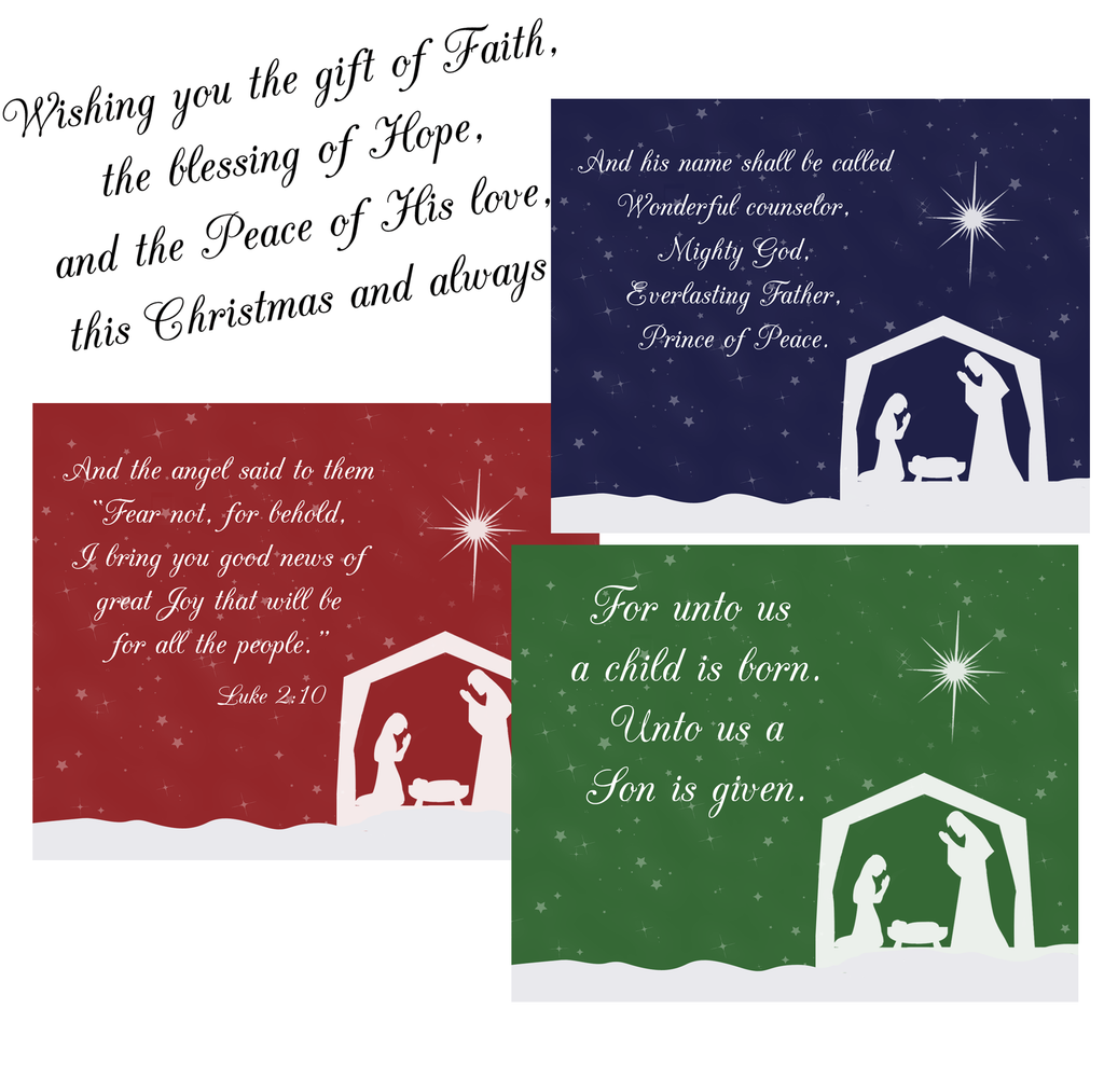 Nativity Christmas Cards, Away In A Manger, Religious Christmas Cards, Assorted Pack, Navy, Red, Green (24 Count)