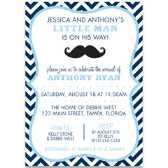 Little Man Navy Baby Shower Invitation