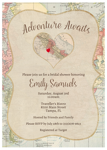 Adventure Awaits Bridal Shower Invitation