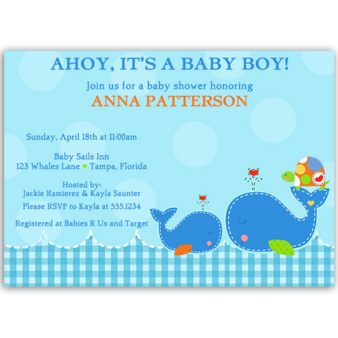 Ahoy Baby Boy Gingham Baby Shower Invitation