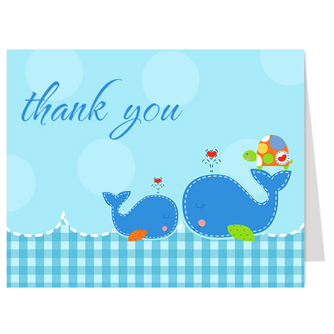 Ahoy Baby Boy Gingham Thank You Card