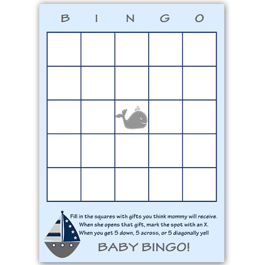 Ahoy It's a Boy Whale Gray Bingo Card