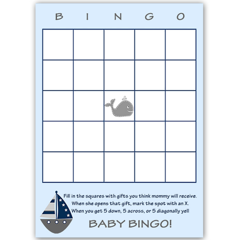 Ahoy It's a Boy Whale Gray Bingo