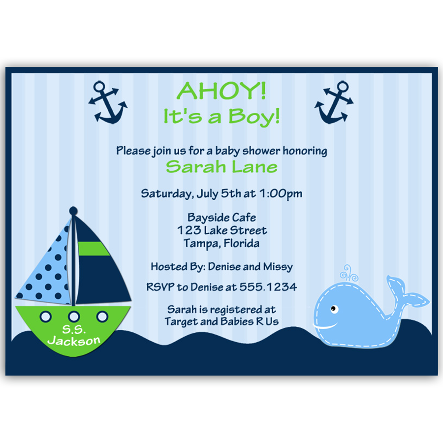 Ahoy It's a Boy Whale Green Baby Shower Invitation