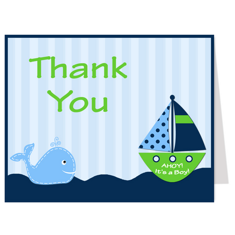 Ahoy It's a Boy Whale Green Thank You Card