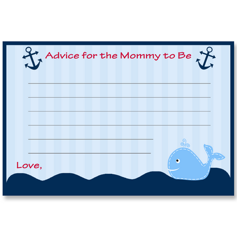Ahoy It's a Boy Whale Red Advice Card
