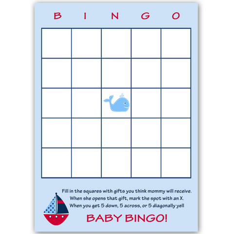 Ahoy It's a Boy Whale Red Bingo Card