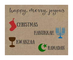 Merry Everything Christmas Card Holiday Greeting Cards Happy Holidays Christmas Kwanzaa Hanukkah Ramadan Joyous Burlap Design Inclusive Religious Religion (24 count)