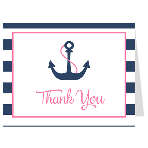 Anchor Baby, Navy and Pink, Thank You Card