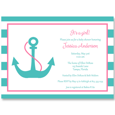 Anchor Baby Pink and Aqua Baby Shower Invitation