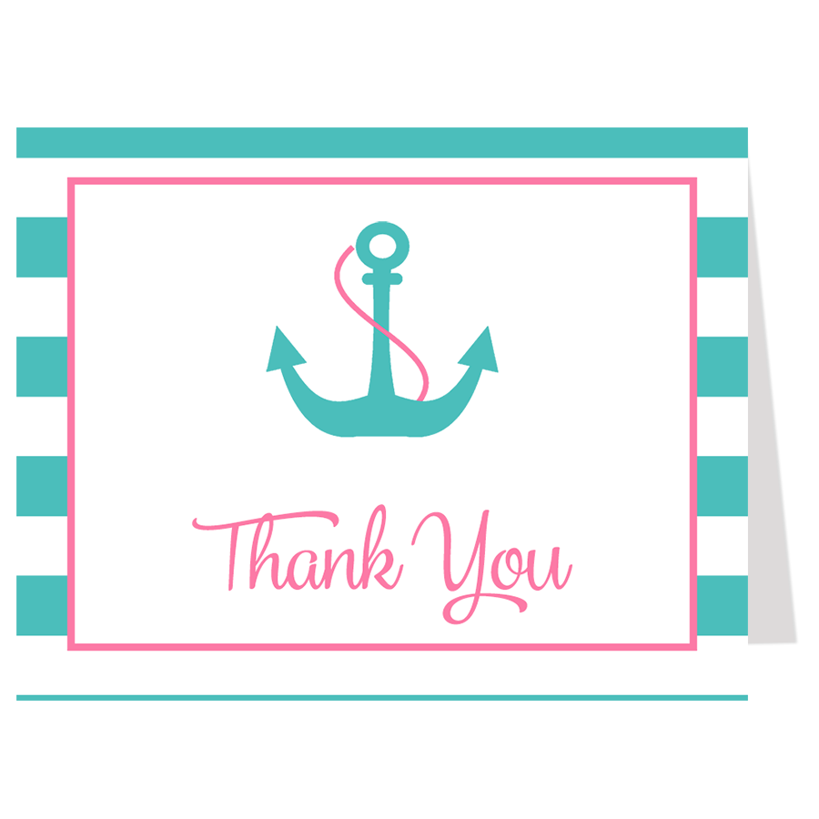 Anchor Baby, Pink and Aqua, Thank You Card