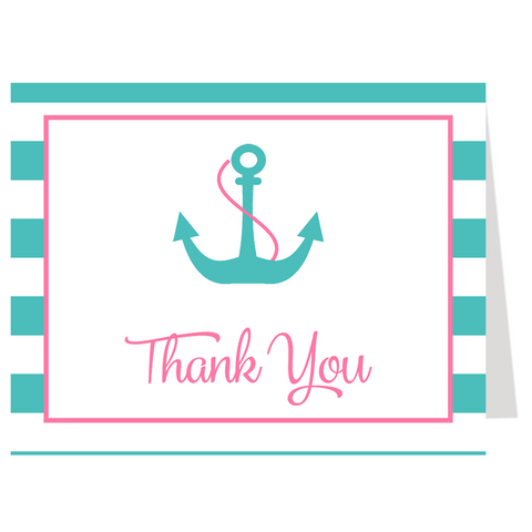 Anchor Baby Pink and Aqua Thank You Card