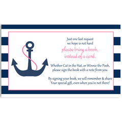 Anchor Baby, Navy and Pink, Baby Shower Invitation