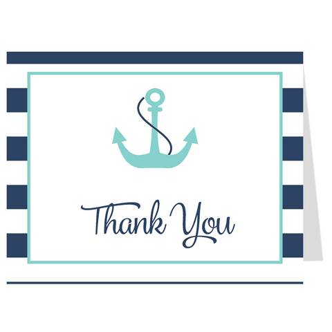 Anchor Baby, Navy and Aqua, Thank You Card