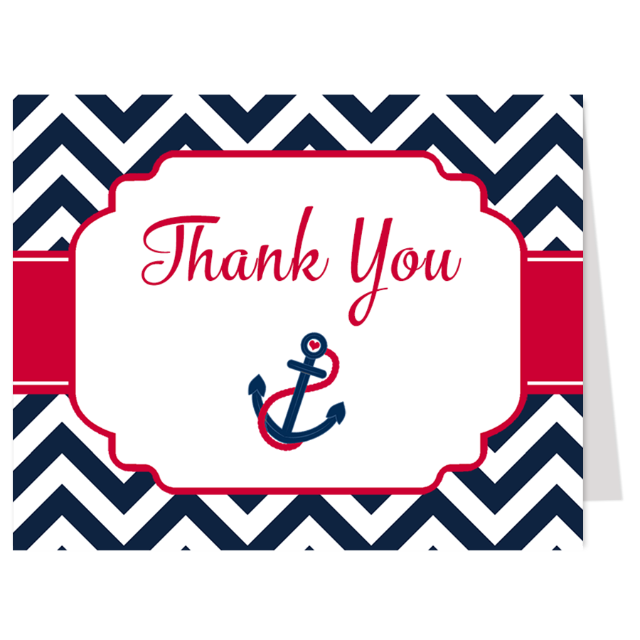 Nautical Chevron Red and Navy Thank You Card