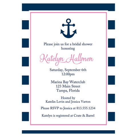 Anchored in Love Navy and Pink Bridal Shower Invitation