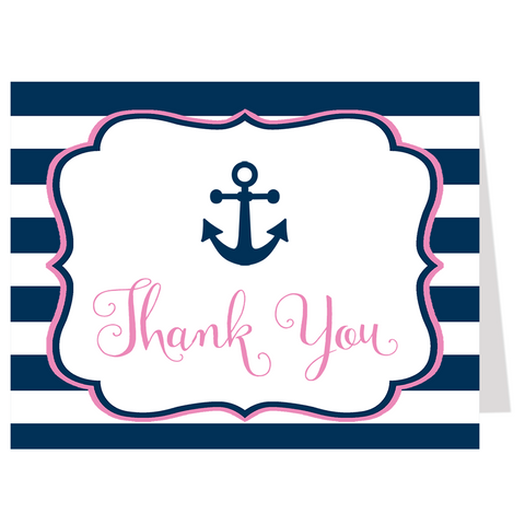 Anchored in Love Navy and Pink Thank You Card