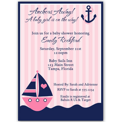 Anchors Away Pink Baby Shower Invitation