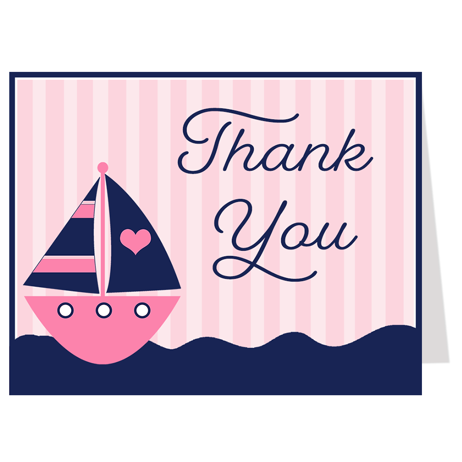 Anchors Away Pink Thank You Card