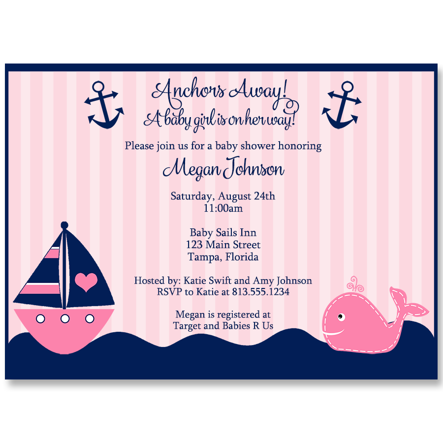 Anchors Away Pink Whale Baby Shower Invitation – The Invite Lady