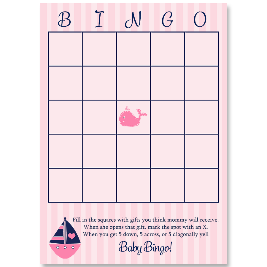 Anchors Away Pink Whale Bingo Card