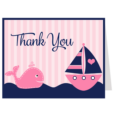 Anchors Away Pink Whale Thank You Card