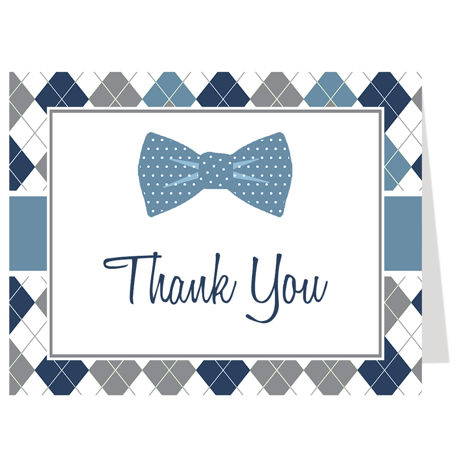 Argyle Bowtie Baby, Navy and Gray, Thank You Card