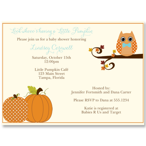 Autumn is a Hoot, Boys, Baby Shower Invitation
