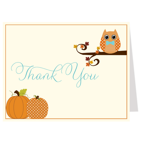 Autumn is a Hoot, Boys, Thank You Card