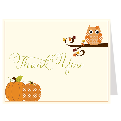 Autumn is a Hoot Girl Thank You Card