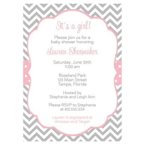 Chevron Stripes and Polka Dots, Pink, Baby Shower Invitation