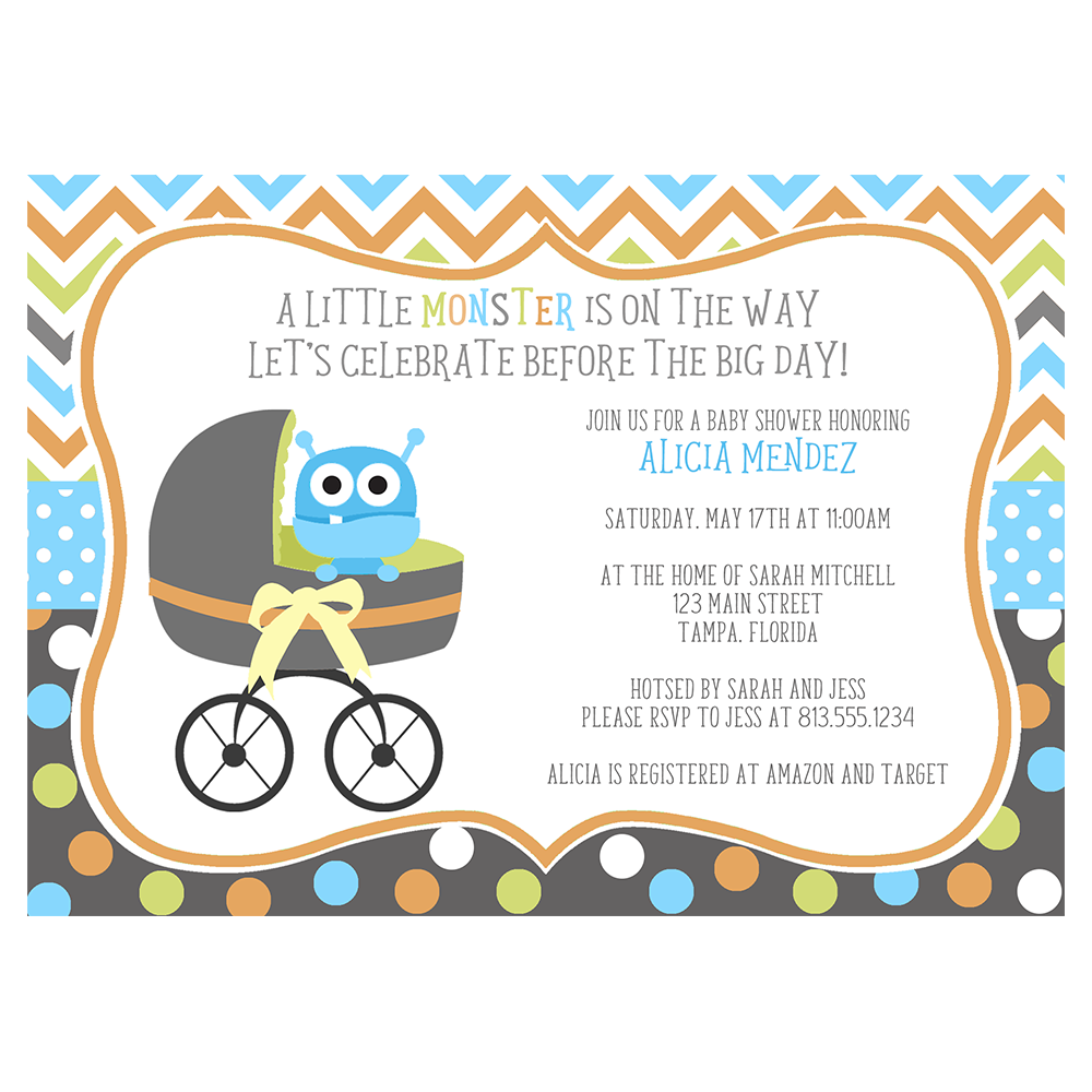 Buggy Monster Baby Shower Invitation