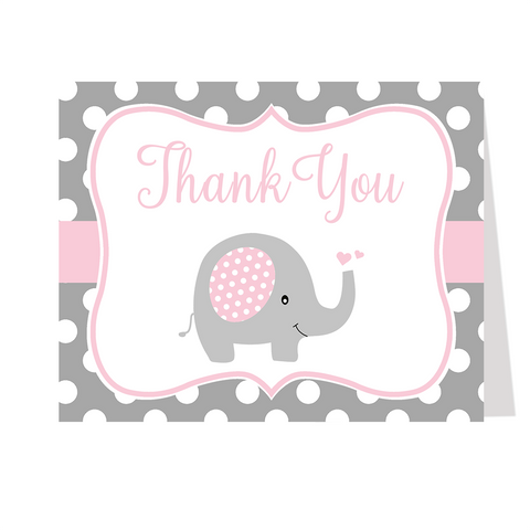 Polka Dot Elephant Pink Thank You Card