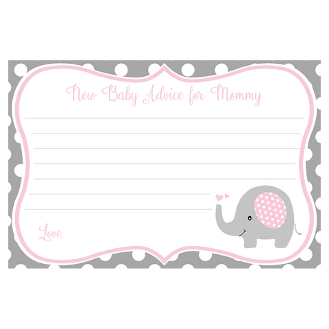 Polka Dot Elephant, Pink, Advice Card