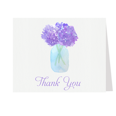 Jar of Hydrangeas Thank You Card