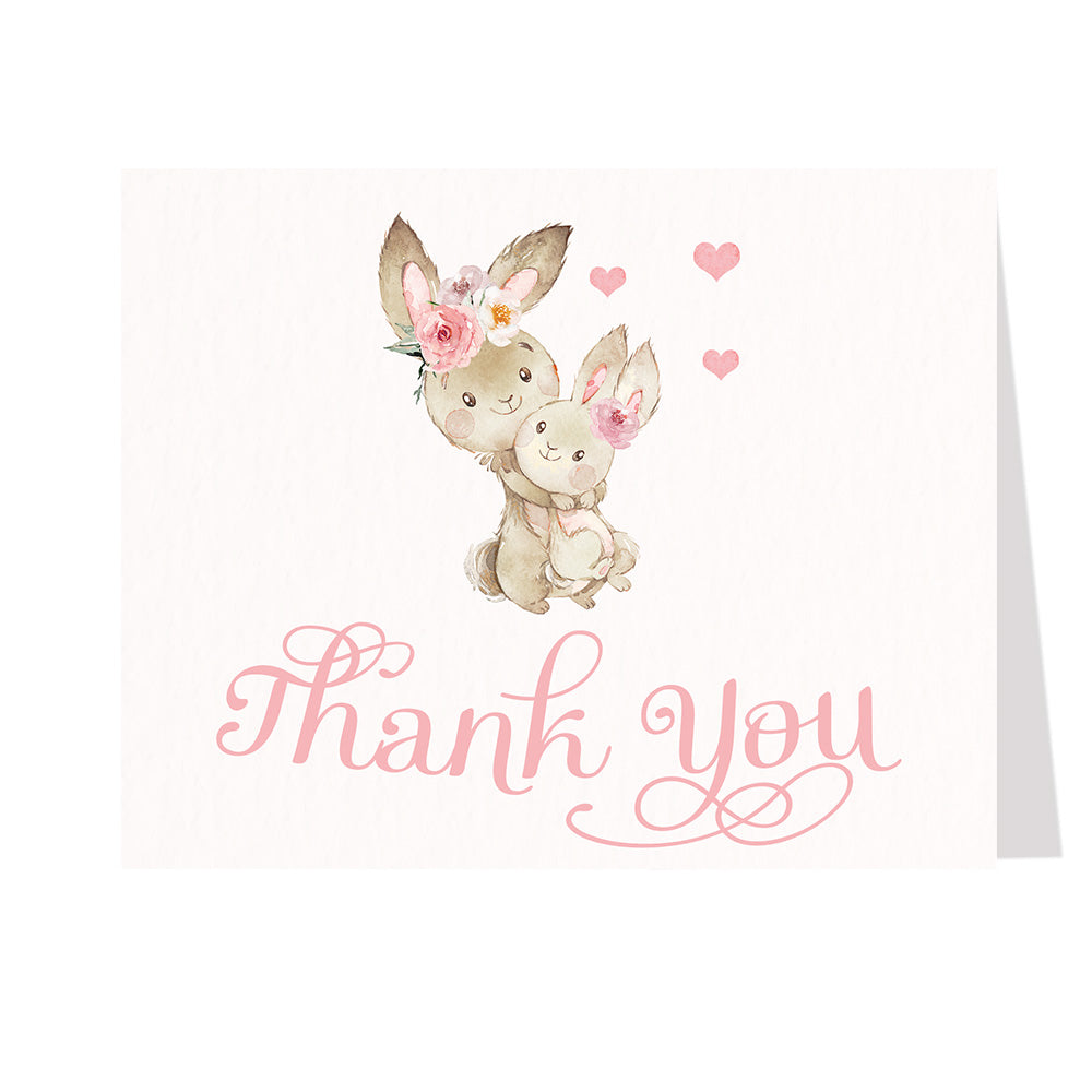 Mommy And Me Bunnies Thank You Card