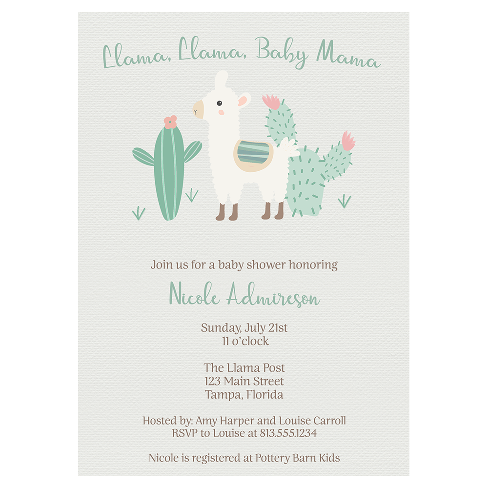 Little Llama Baby Mama Baby Shower Invitations