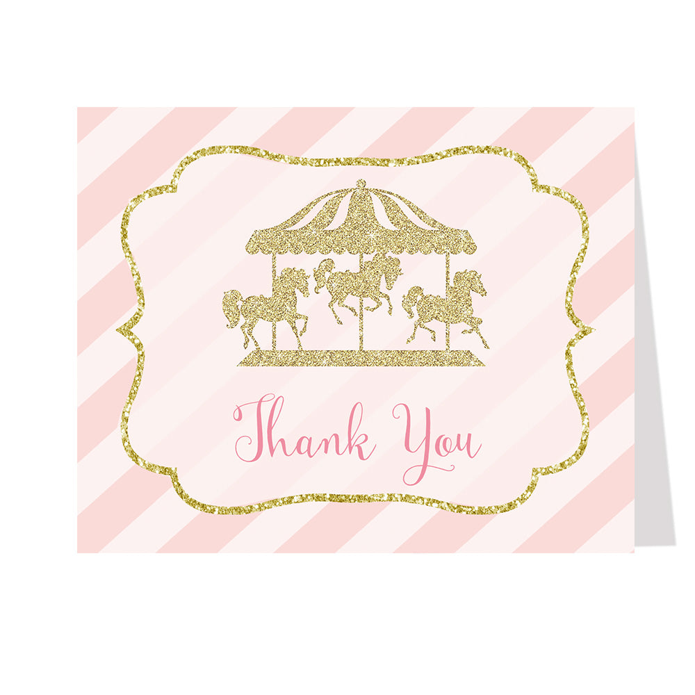 Carousel Birthday Party Thank You Card
