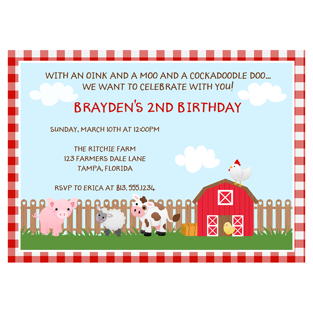 Barnyard Birthday Party Invitation