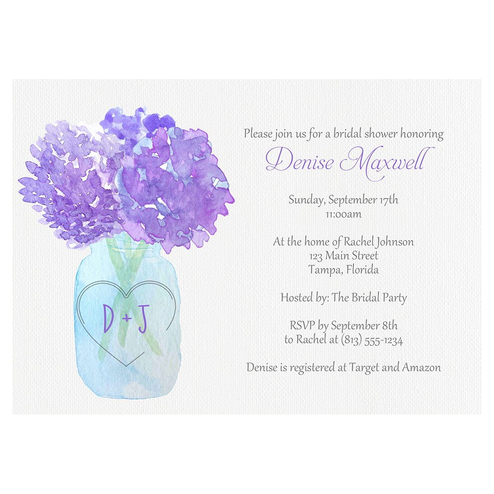 Jar Of Hydrangeas Purple Bridal Shower Invitation