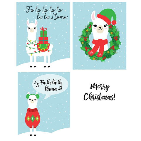 Llama Christmas Cards, Alpaca Holiday Folding Cards (24 Count)