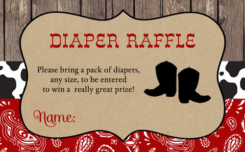 Boots and Bandanas Baby Shower Diaper Raffle Ticket