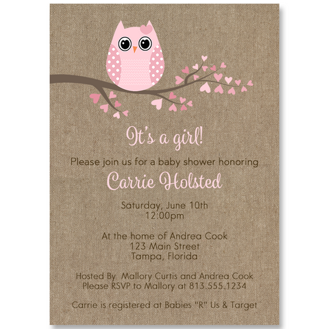 Babies are a Hoot Pink Burlap Baby Shower Invitation