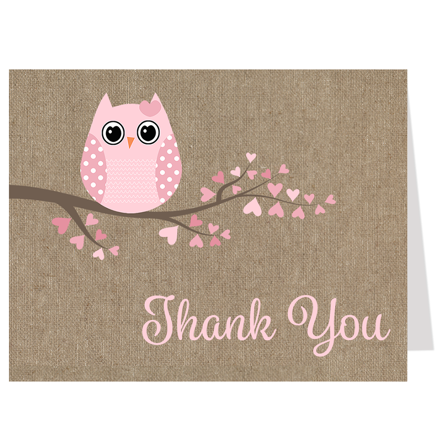 Babies are a Hoot Pink Burlap Thank You Card