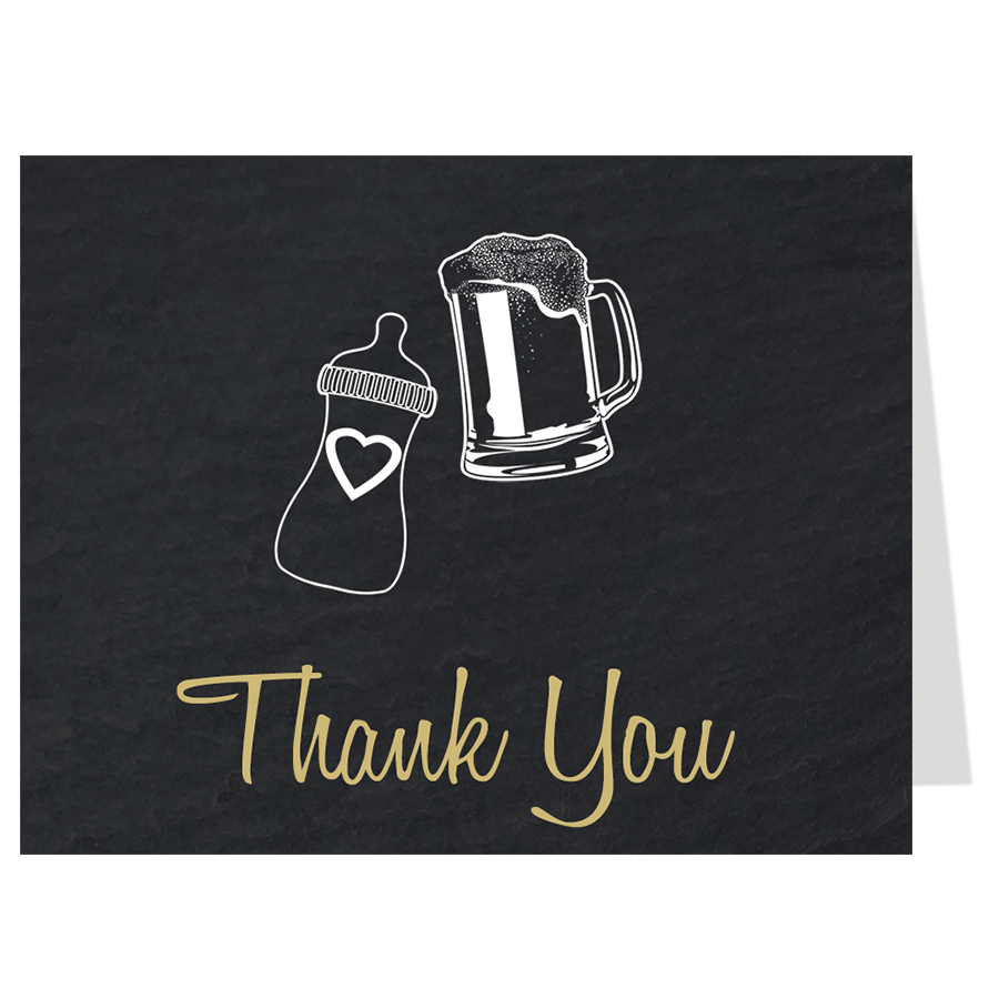 Baby Brewing Tan Thank You Card