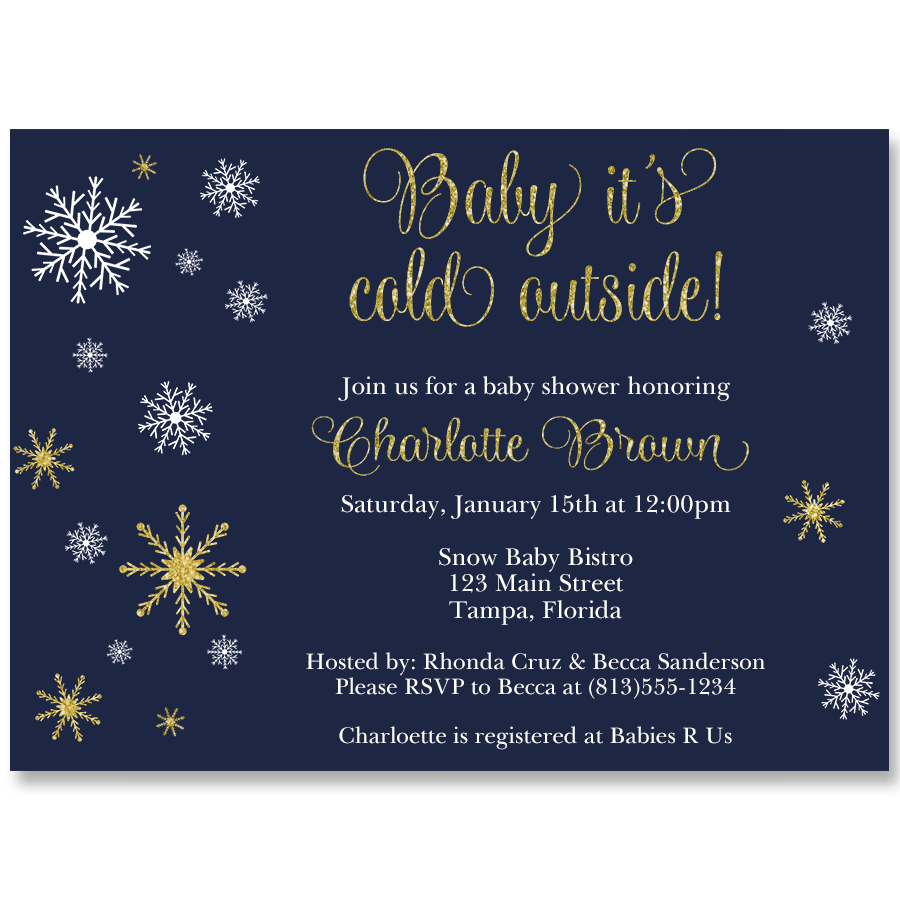 Baby It's Cold Outside Navy Baby Shower Invitation