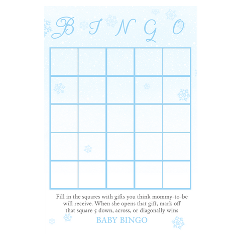 Baby It's Cold Outside Blue Baby Shower Bingo Card